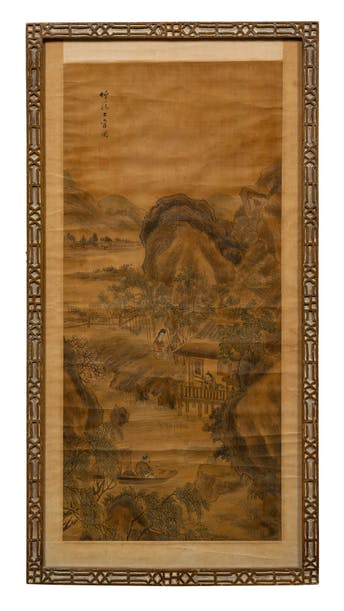 ASIAN SCROLL PAINTING, CHINESE CHIPPENDALE FRAME_64779a_8d8a82f79b5e568_lg.jpeg